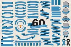 60 retro linten en etiketten Royalty-vrije Stock Foto's