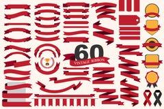 60 retro linten en etiketten Royalty-vrije Stock Afbeelding