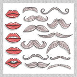 Retro lips and mustaches elements set Stock Photography