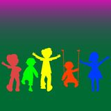 Retro little kids silhouettes Stock Images