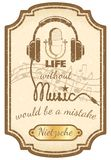Retro live music poster. With mic and headphones vector illustration Royalty Free Stock Image