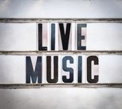 Retro Live Music Sign stock images