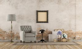 Retro living room. With armchair, vintage objects and old wall - 3d rendering stock illustration