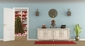 Retro living room with christmas decoration Royalty Free Stock Image