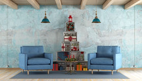Retro living room with christmas decorations Stock Image