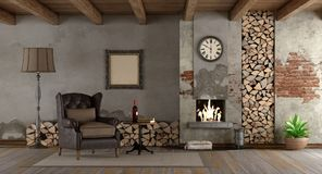 Retro living room with fireplace Royalty Free Stock Photo