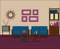 Retro living room interior. Linear vector illustration. Retro living room in flat design. Room interior in line art. Linear illustration. Vector graphics. Thin vector illustration
