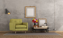 Retro living room. With green armchair and coffee table in industrial style - 3d rendering Stock Images