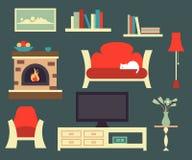 Retro living room interior Stock Photos
