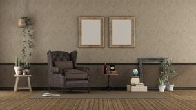 Retro living room with leather armchair stock photos