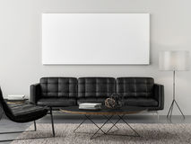 Retro living room with mock up poster Royalty Free Stock Images