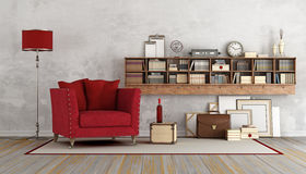 Retro living room with red armchair Stock Images