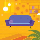 Retro living room in retro style Stock Images