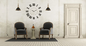 Retro living room with two black armchair, Royalty Free Stock Image