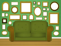 Retro livingroom interior Stock Photos