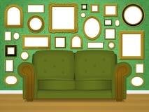 Retro livingroom interior Stock Photos