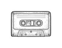 retro ljudsignalkassett Illustration för gravyr för tappningvektorsvart Royaltyfria Bilder