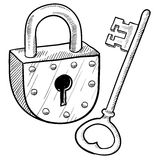 Retro lock and key. Doodle style antique lock and key illustration in vector format Royalty Free Stock Photography