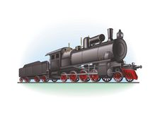Retro locomotief vector illustratie