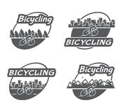 Retro logo bicycling. Bicycle and cyclist Stock Image