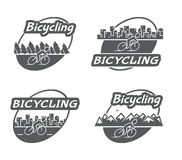 Retro logo bicycling. Bicycle and cyclist Stock Photos