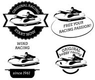 Retro logo with buggy pilot. In flat style Royalty Free Stock Image