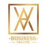 Retro A logo della lettera dell'oro Immagini Stock Libere da Diritti