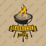 Retro logo design with bbq grilled and flame. Vector illustration. Stock Photos