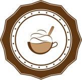 Retro- Logogeschäft der Kaffeeweinlese Stockbild