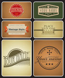 Retro Logos. 6 vintage logos to replace with your own text Stock Photo