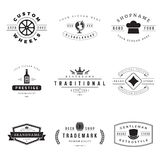 Retro Logotypes vector set. Vintage graphics design elements for logos, identity, labels, badges, ribbons, arrows and other objects Royalty Free Stock Photos