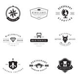 Retro Logotypes vector set. Vintage graphics design elements for logos, identity, labels, badges, ribbons, arrows and other objects Stock Image