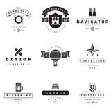 Retro Logotypes vector set. Vintage graphics design elements for logos, identity, labels, badges, ribbons, arrows and other objects Stock Photography