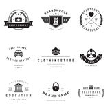 Retro Logotypes vector set. Vintage graphics design elements for logos, identity, labels, badges, ribbons, arrows and other objects Stock Photos