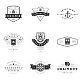 Retro Logotypes vector set. Vintage graphics design elements for logos, identity, labels, badges, ribbons, arrows and other objects Stock Images