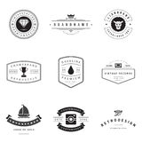 Retro Logotypes vector set. Vintage graphics design elements for logos, identity, labels, badges, ribbons, arrows and other objects Royalty Free Stock Photography