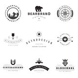 Retro Logotypes vector set. Vintage graphics design elements for logos, identity, labels, badges, ribbons, arrows and other objects Stock Photo