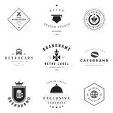 Retro Logotypes vector set. Vintage graphics design elements for logos, identity, labels, badges, ribbons, arrows and other objects Royalty Free Stock Photo
