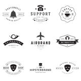 Retro Logotypes vector set. Vintage graphics design elements for logos, identity, labels, badges, ribbons, arrows and other objects Royalty Free Stock Images