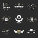 Retro Logotypes vector set. Vintage graphics. Design elements for logos, identity, labels, badges, ribbons, arrows and other objects Stock Image