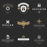 Retro Logotypes vector set. Vintage graphics. Design elements for logos, identity, labels, badges, ribbons, arrows and other objects Royalty Free Stock Photography