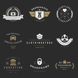 Retro Logotypes vector set. Vintage graphics. Design elements for logos, identity, labels, badges, ribbons, arrows and other objects Royalty Free Stock Image