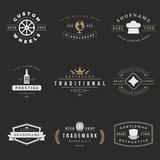 Retro Logotypes vector set. Vintage graphics. Design elements for logos, identity, labels, badges, ribbons, arrows and other objects Stock Photography