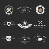 Retro Logotypes vector set. Vintage graphics. Design elements for logos, identity, labels, badges, ribbons, arrows and other objects Royalty Free Stock Images