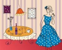 retro lokal för flicka vektor illustrationer