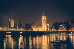 Retro London Skyline. Vintage filter style London skyline at night with Big Ben and Thames royalty free stock photography