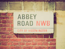Retro look Abbey Road, London, UK Royalty Free Stock Photos