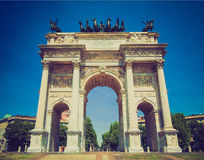 Retro look Arco della Pace, Milan Royalty Free Stock Image