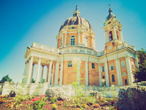 Retro look Basilica di Superga, Turin, Italy Royalty Free Stock Photos