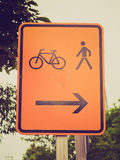 Retro look Bike lane sign Stock Photography